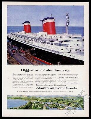 1956 S.S. SS United States ship great color photo Canada Aluminum print ad
