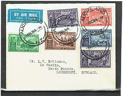 #869 New Zealand 1936 set of 5+1 on FDC