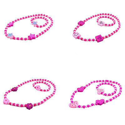New Girl's Pink Wooden Flower Cute Heart Beads Necklace&Bracelet Jewellery Sets