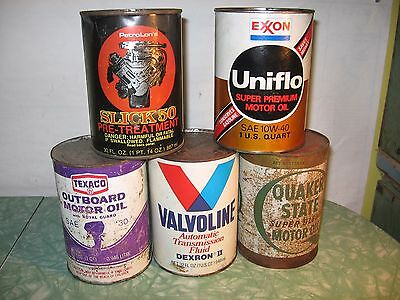 Vintage FULL  Quart Oil Cans Metal Valvoline Exxon Slick 50 Texaco Quaker State