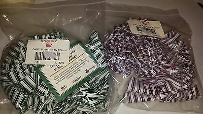 2 Longaberger Green & Purple with White Stripes Ticking Extra Large Garter NEW!!