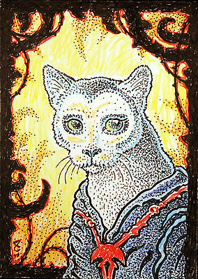 ACEO Original Fantasy Cat from the Dark Side