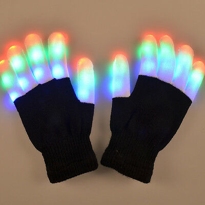 LED Rave Flashing Gloves Glow 7 Mode Light Up Finger Tip Lighting Pair Black NR