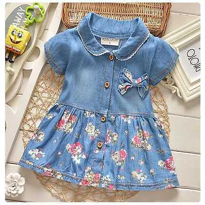 Infant Baby Girls Denim Floral Dress Bowknot Sundress Clothes Skirt Outfits