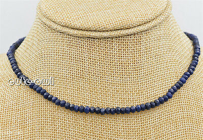 2x4mm Faceted Natural Blue lapis lazuli Abacus Gems Fashion Necklace 18''Fashion