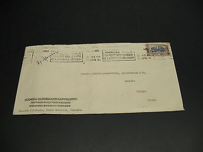 Ceylon 1951 airmail cover to Finland fold *23289