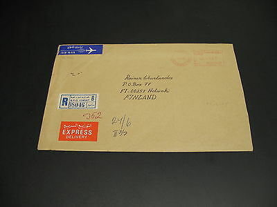 Kuwait 1985 registered expres meter cover to Finland *21846