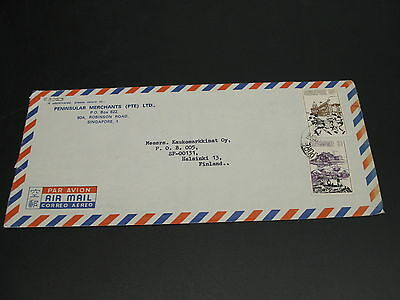 Singapore 1960s airmail cover to Finland tear *23053