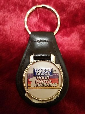 Vintage London Drugs One Hour Photo Finishing 1980's leather key fob - Rare!