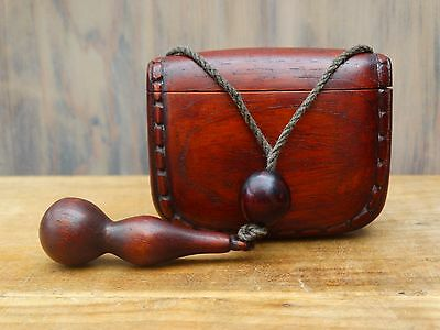 Japanese Wooden Tobacco Pouch with wood netsuke and ojime bead