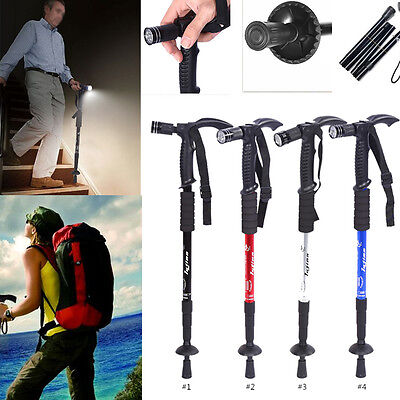 Anti-Shock Telescopic Walking Hiking Stick Pivot LED Light Handle Folding Cane D