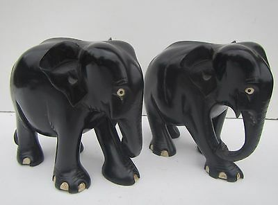 Old Pair of Carved Wooden Ebony Elephants