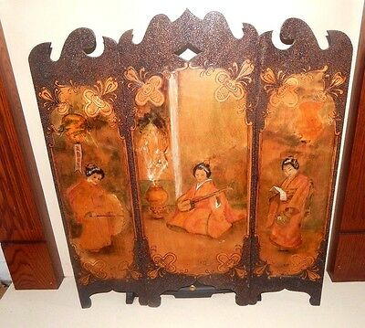 ANTIQUE WOODEN Hand Painted JAPANESE ORIENTAL FIRESCREEN GUARD Signed VINTAGE