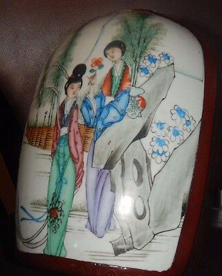 Huge ANTIQUE CHINESE FAMILLE ROSE BOX Plaque TILE FIGURE PAINTED Jewellery OLD