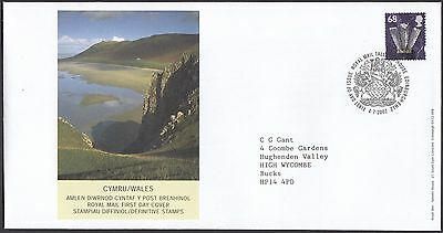 2002  68p WALES DEFINITIVE  - WITH INSERT CARD  FDC  (1669)