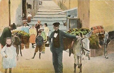 Old Postcard-GIBRALTAR-ARTICHOKES & WATER SELLARS--by V R Cumbo of Glasgow.