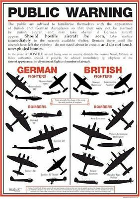 New Ww2 Aircraft Fighters Bombers Identification Uk Public Warning A3 Poster