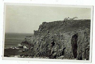 Cornish Post Card Real Photo Hotel And Cliffs, Lands End