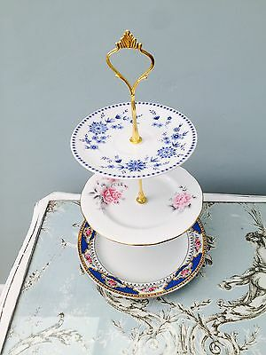Cake Stand 3 Tier Floral Vintage Shabby Chic Wedding Tea Party