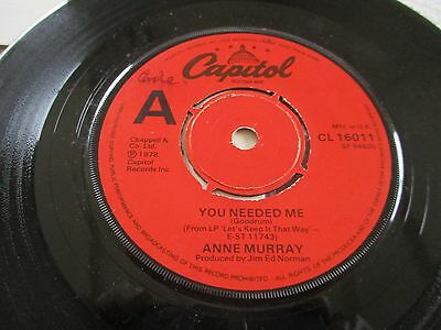 Anne Murray - You Needed Me  - 45 Rpm Vinyl -1978