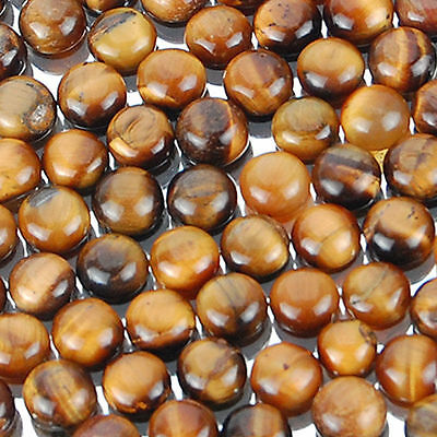 5 PIECES OF 7mm ROUND CABOCHON-CUT NATURAL AFRICAN GOLDEN TIGERS-EYE GEMS £1 NR!