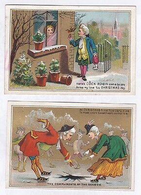 2 Antique Victorian Christmas Cards c 1870s Comic Lovers Ice Skating & at Window