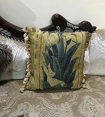 "ANTIQUE 19C AUBUSSON FRENCH HAND WOVEN TAPESTRY CUSHION 16"" By 16"""