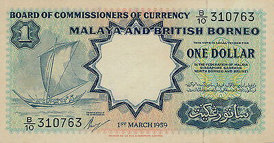 Board of Comm. Of Currency Malaysia & British Borneo  $1 1959   UNC