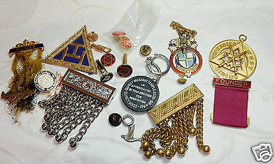 Collection Lot Vintage Masonic Items Jewels Cufflinks Pins Parts