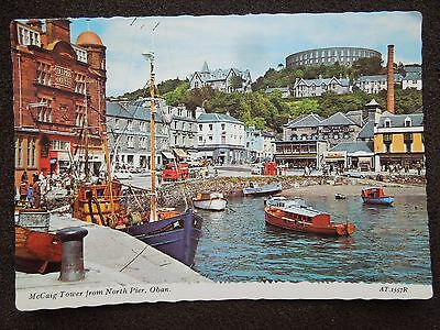COLOUR POSTCARD OF OBAN McCAIG TOWER FROM NORTH PIER OLD TRANSPORT & BOATS
