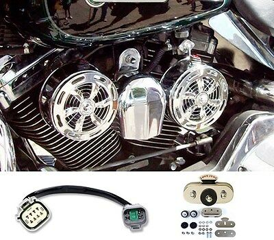SD-320 + VBM Love Jugs Slots Chrome Engine Cooling Fans 2014-2016 Harley Touring