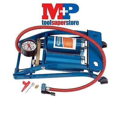 Draper 25996 Double Cylinder Foot Pump with Pressure Gauge
