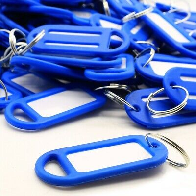 100 x BLUE KEY TAGS+ID CARDS Colour Plastic Car Fob Ring Marker Labels Identity
