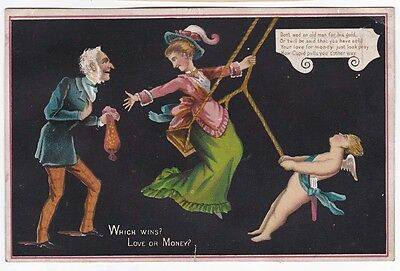 Victorian Comic Anti Valentine Card Cupid pulling Lady away from Rich Old Man
