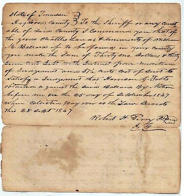 1847 Legal Document:  Haywood County, Tennessee (TN): Dated Sept 25, 1847