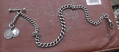 Antique Sterling Silver Single Albert Pocket Watch Chain & Coin Fobs