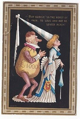 Victorian Comic Anti Valentine Card Rich Old Man Pleading with Medieval lady