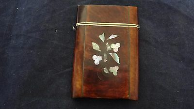 Superb Antique Victorian Faux Shell Mother Of Pearl Inlaid Card Case