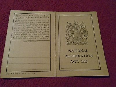 WWI National Registration Act 1915 ID Card Issued in Canterbury