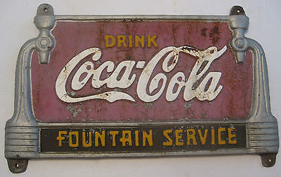 Vintage Coca-Cola Coke Fountain Advertising Soda Pop Cast Iron Sign ~ Very Old !