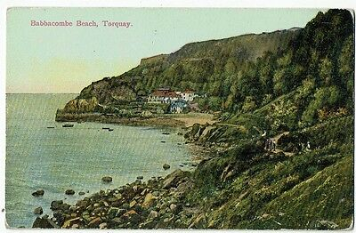 Devon Post Card Early Printed Babbacombe Beach, Torquay