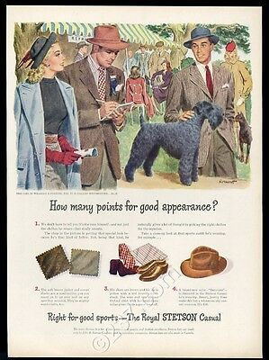 1946 Kerry Blue Terrier dog show art Stetson hats vintage fashion print ad