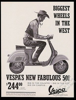 1964 Vespa scooter moped and cowboy art vintage print ad