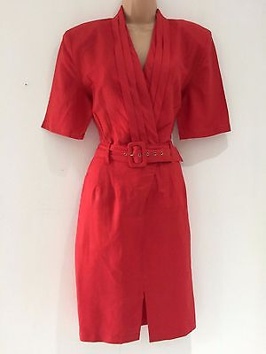 Vintage 1980's Retro Red Power Dressing Belted Office Work Day Dress Size 12