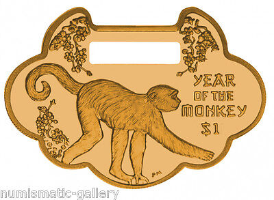 BRITISH VIRGIN ISLANDS $1 2016 Lunar Year of the Monkey Lock Charm Shaped Coin