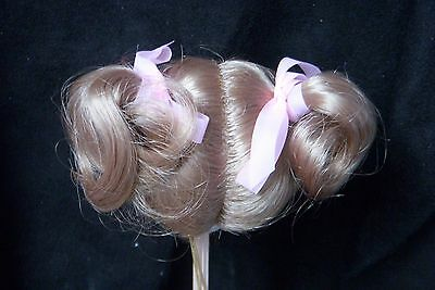 MONIQUE Doll Wig KITTY 7-8 - BLONDE Pigtails & Ribbons REBORN or BISQUE