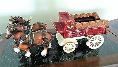 Budweiser Clydesdale Beer Wagon with Two Clydesdale Horses #3 Metlox Potteries