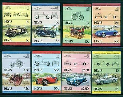Nevis Michel 148-163 IMPERF Pairs MNH Automobiles Issued 7/25/84 Rare