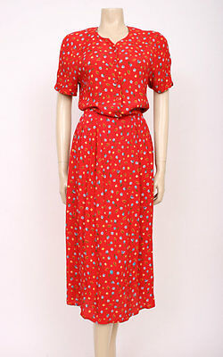 ORIGINAL VINTAGE 1980's 80's RED FLOWER PRINT BUTTON-UP CASUAL DAY DRESS! UK 12