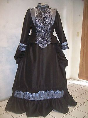 VICTORIAN bustle DELUXE couture THEATER 1880's rep DRESS sz M